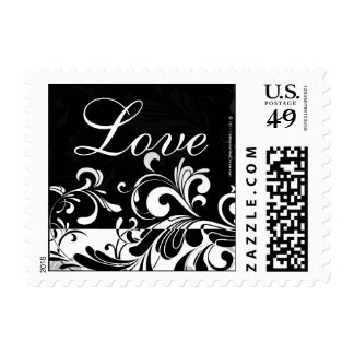 Contemporary Black and White Swirl Postage