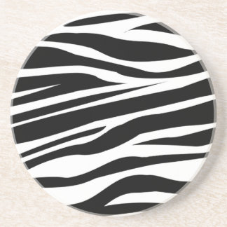 Contemporary Black And White Zebra Stripes Drink Coaster