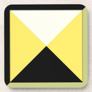 Contemporary Black and Yellow Triangles Drink Coasters