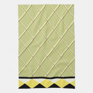 Contemporary Black and Yellow Triangles Kitchen Towels