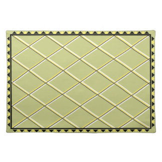 Contemporary Black and Yellow Triangles Cloth Placemat