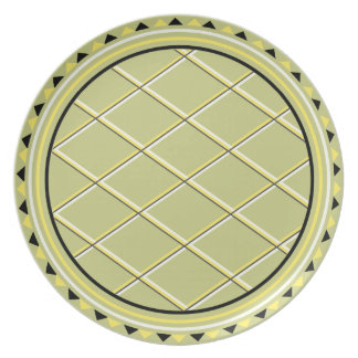 Contemporary Black and Yellow Triangles Party Plate