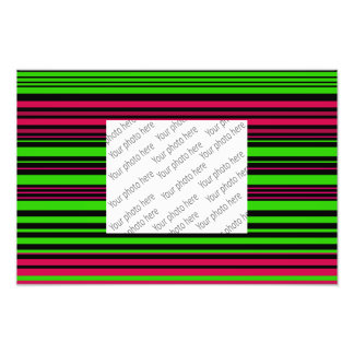 Contemporary black green and pink stripes photo art