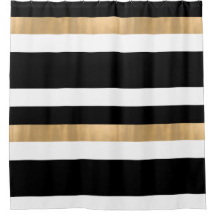 Contemporary Black White And Gold Shower Curtain