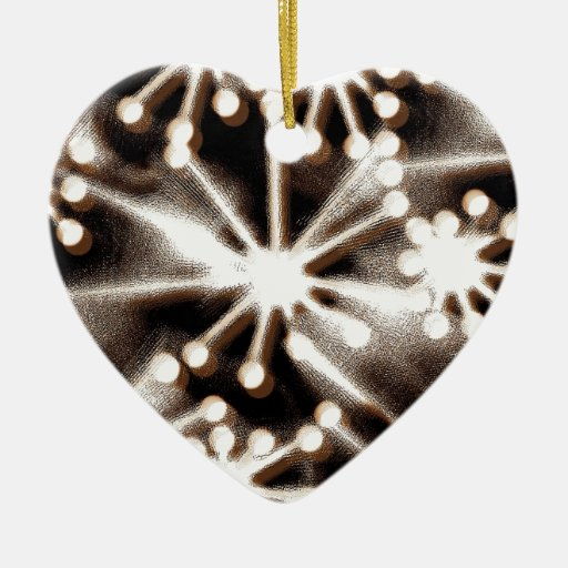 Contemporary Black & White Art Double-Sided Heart Ceramic Christmas Ornament