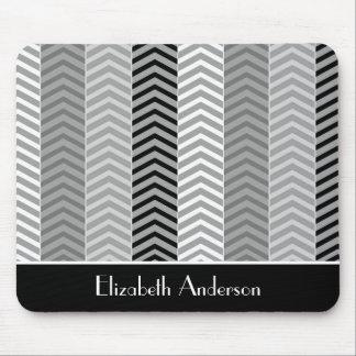 Contemporary Black White Chevron Stripes and Name Mouse Pad