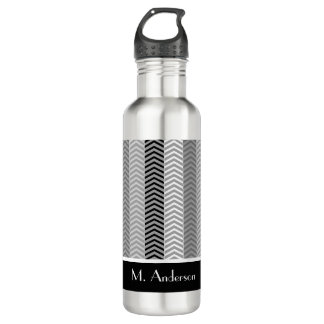 Contemporary Black White Chevron Stripes and Name Stainless Steel Water Bottle