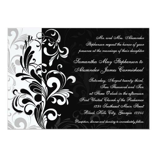 Contemporary Black/White Swirl Wedding Invitations