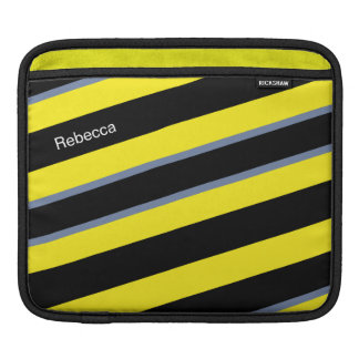 Contemporary Black Yellow pigeon blue stripes Sleeve For iPads