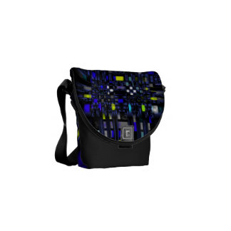 Contemporary Blue and Yellow Abstract on Black Courier Bag