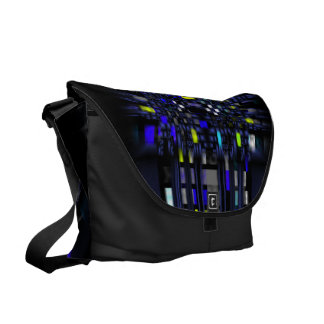 Contemporary Blue and Yellow Abstract on Black Messenger Bag