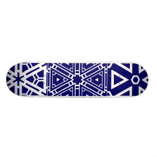 Contemporary Blue Pattern Custom Skateboard
