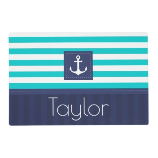 Contemporary Blue Stripes Nautical Design Custom Placemat at Zazzle