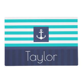 Contemporary Blue Stripes Nautical Design Custom Placemat