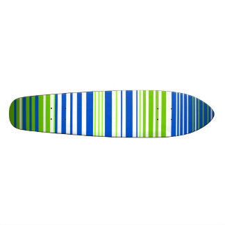 Contemporary blue white and moss green stripes skate board decks