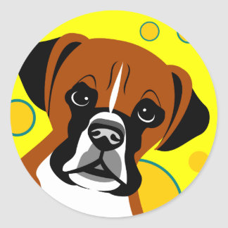 Contemporary Boxer Dog Art Stickers