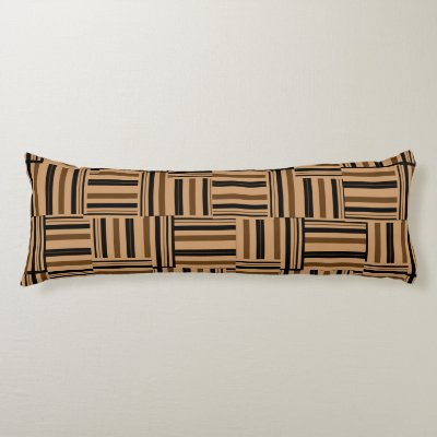 Contemporary Brown and Black Stripes Body Pillow