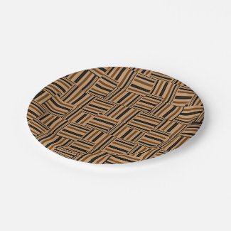 Contemporary Brown and Black Stripes Paper Plates