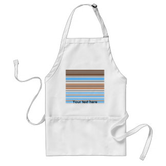 Contemporary brown and blue horizontal stripes adult apron