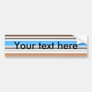 Contemporary brown and blue horizontal stripes car bumper sticker
