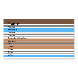 Contemporary brown and blue horizontal stripes business card template