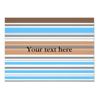 Contemporary brown and blue horizontal stripes custom invitations