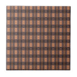 Contemporary Brown and Blue Plaid Ceramic Tile