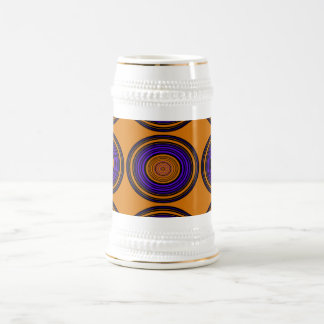 Contemporary brown and purple circles 18 oz beer stein