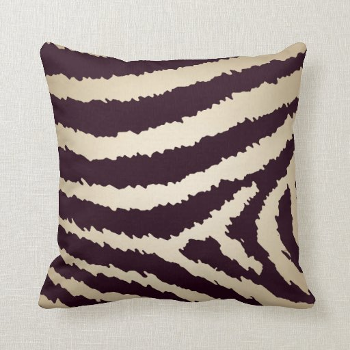 Contemporary Brown Jagged Zebra Print Throw Pillow