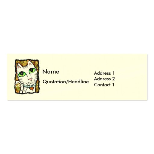 Contemporary Cat Profile Skinny Business Card