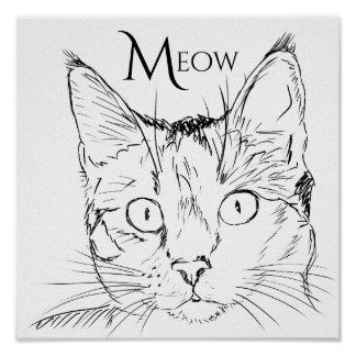 Contemporary Cat's Meow Black Line Drawn Poster