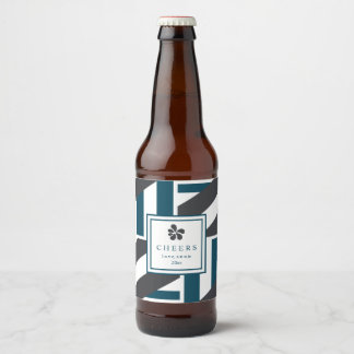 Contemporary Charcoal and Teal Stripes Beer Bottle Label