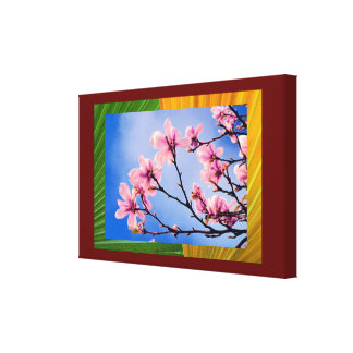 Contemporary Cherry Floral Collage Canvas Print