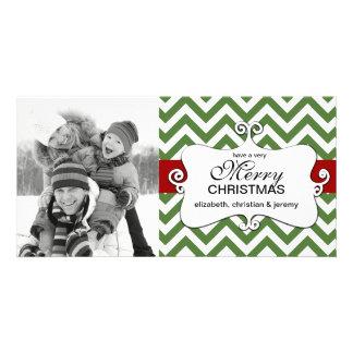 Contemporary Chevron Christmas Photo Cards-green