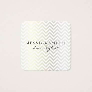 Beach Themed Contemporary Chevron Pattern Square Business Card