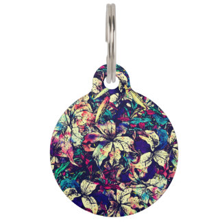 Contemporary Chic Watercolor Dragon Lilies Flowers Pet ID Tag