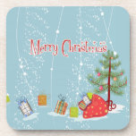 Contemporary Christmas Tree and Presents in Snow Beverage Coaster