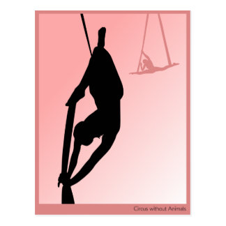 Contemporary circus, two girl silhouette postcard