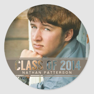 Contemporary Class of 2014 Photo Graduation Classic Round Sticker