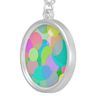 Contemporary Colorful Circles Bubbles Silver Plated Necklace