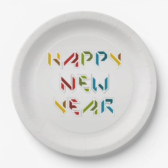 Contemporary, Colorful New Years Eve Paper Plates