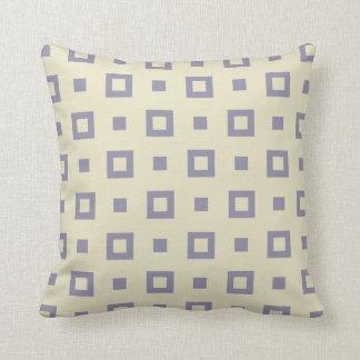 Contemporary Cornsilk Gray Square Pattern Throw Pillow