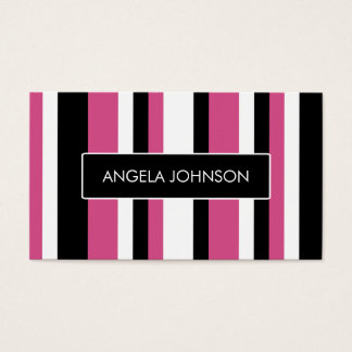 Contemporary cranberry pink black and white business card
