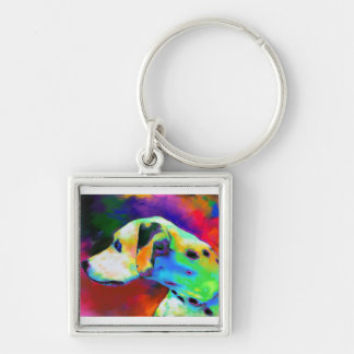 Contemporary Dalmatian Dog portrait Key Chains