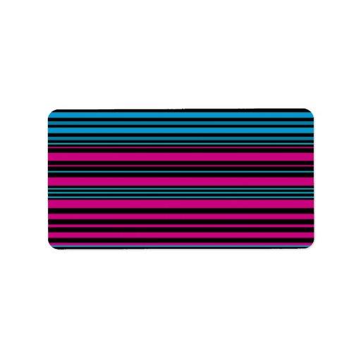 Contemporary dark pink black and blue stripes address label