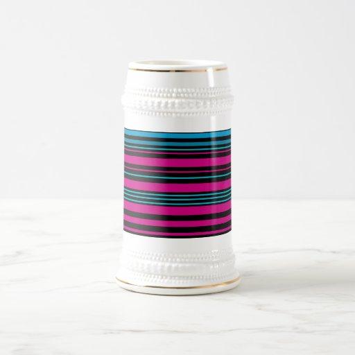 Contemporary dark pink black and blue stripes mug