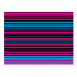 Contemporary dark pink black and blue stripes postcards