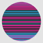 Contemporary dark pink black and blue stripes stickers