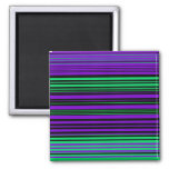 Contemporary dark purple green and black stripes magnets