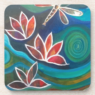 Contemporary dragonfly and lily vibrant design beverage coaster